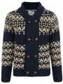 Brave Soul Heavy Knit Chunky Button Front Cardigan Navy