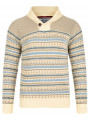 Soul Star Nordic Norwegian Shawl Neck Knitted Jumper Sand Beige