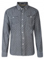 Firetrap Shirt Long Sleeve Printed Black Wash Elmar