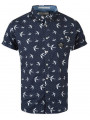Crosshatch Flighty Bird Cotton Shirt Short Sleeve Navy Blue