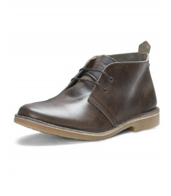 Jack & Jones Mens High Leather Gobi Desert Boots Chocolate Brown Shoes | Jean Scene