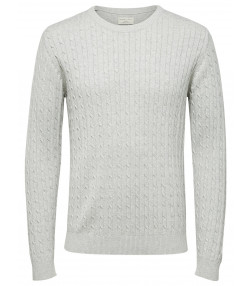 Selected Crew Neck Cotton Clayton Jumper Light Grey | Jean Scene