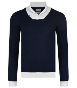 Kensington Eastside Men's Shawl Neck Stanbury Knit Jumper Navy | Jean Scene