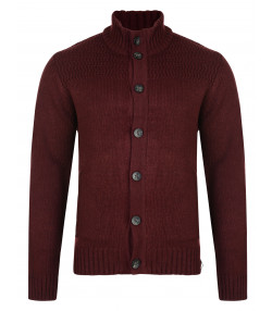 Kensington Eastside Men's Tramore Knit Cardigan Oxblood Marl | Jean Scene