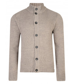 Kensington Eastside Men's Tramore Knit Cardigan Taupe Marl | Jean Scene