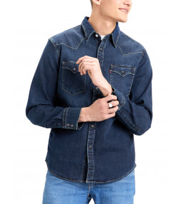 Levis Barstow Western Denim Men's Shirt Dark Worn | Jean Scene