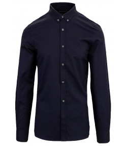 French Connection Oxford Long Sleeve Shirt Marine Blue | Jean Scene