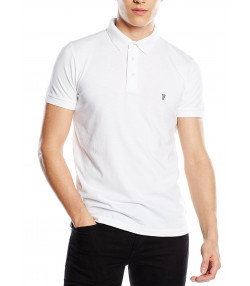 French Connection Basic Sneezy F Polo Pique T-Shirt White | Jean Scene