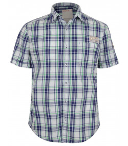 Esprit Slim Fit Short Sleeve Check Shirt Deep Purple