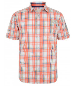 Esprit Slim Fit Short Sleeve Check Shirt Peach Red