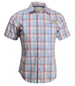 Esprit Slim Fit Short Sleeve Check Shirt Sky Blue