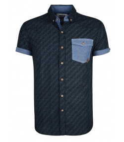 Smith & Jones Priviledge Pattern Shirt Short Sleeve Navy Blue Image