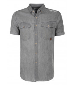 Smith & Jones Del Mar Denim Shirt Short Sleeve Dark Grey Image
