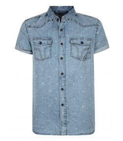 Smith & Jones Disclosure Denim Shirt Short Sleeve Light Blue Image