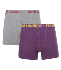 Tokyo Laundry 2 Pack Boxer Shorts Underwear Purple & Grey Image