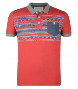 Conspiracy Nordic Style Polo Pique T-Shirt Red Marl Image
