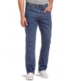 Lee Brooklyn Straight Denim Stretch Jeans Mid Stonewash Image