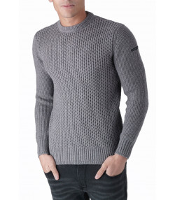 Duck and Cover Crew Neck Heavy Beam Jumper Grey Marl | Jean Scene