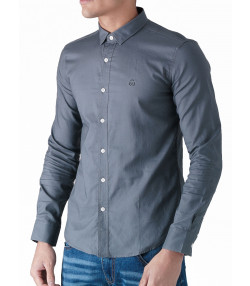 Duck and Cover Slim Birch Long Sleeve Shirt Grey | Jean Scene