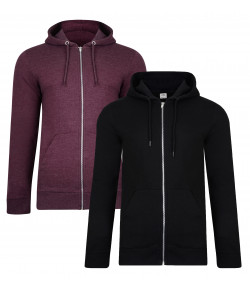 Smith & Jones Men's Gridron Zip Up Hoodie 2 Packs Black/Wine Marl | Jean Scene