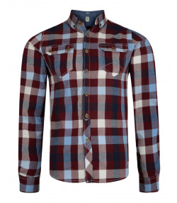 Lee Cooper Men's Long Sleeve Check Shirt Truffle | Jean Scene