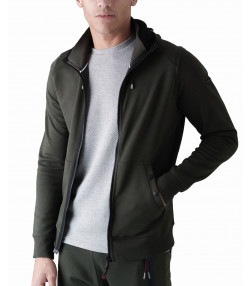 Duck and Cover Zip Up Men's Helm Hoodie Khaki | Jean Scene
