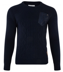 Crosshatch Crew Neck Acrylic Heysham Jumper Dress Blue | Jean Scene