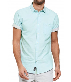 Threadbare Chester Plain Pattern Shirt Short Sleeve Turquoise | Jean Scene