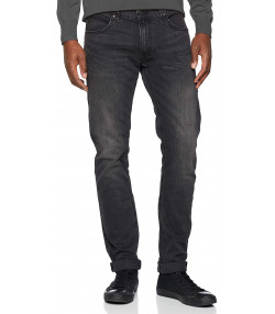 Lee Luke Slim Tapered Faded Black Worn Denim Jeans | Jean Scene