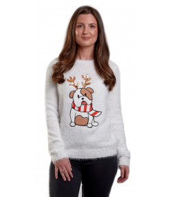 Christmas Jumper Funny Crew Neck Bulldog Cream | Jean Scene