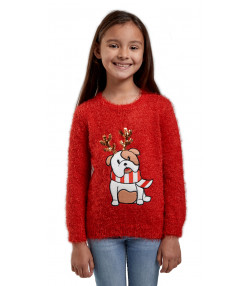 Christmas Jumper Funny Crew Neck Bulldog Red | Jean Scene