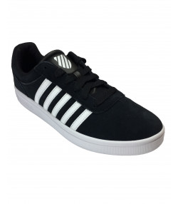 K-Swiss Men's Court Cheswick Leather Shoes Trainers Black White | Jean Scene
