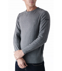 Duck and Cover Crew Neck Cotton Portofino Jumper Mid Grey Marl | Jean Scene