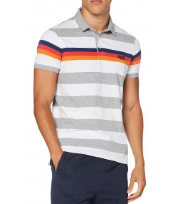 Superdry Men's Horizon Stripe Polo Shirt Grey Grit | Jean Scene