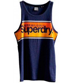 Superdry Core Logo Stripe Men's Vest Princedom Blue | Jean Scene