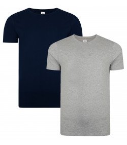 Smith & Jones Basic Crew Neck Cotton Plain T-Shirt 2 Pack Dress Blue/Grey Marl | Jean Scene