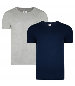 Smith & Jones Basic Vee Neck Cotton Plain T-Shirt 2 Pack Dress Blue/Grey Marl | Jean Scene
