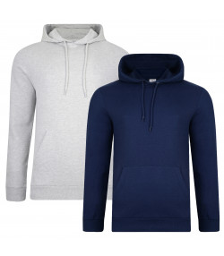 Smith & Jones Overhead Men's Rooski Hoodie 2 Pack Dress Blue/Grey Marl | Jean Scene