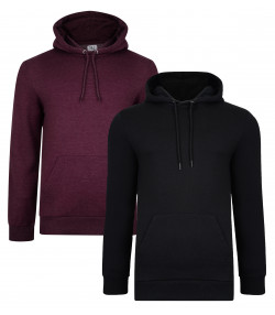 Smith & Jones Overhead Men's Rooski Hoodie 2 Pack Black/Wine Marl | Jean Scene