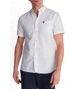 Lyle & Scott Oxford Plain Shirt Short Sleeve White | Jean Scene