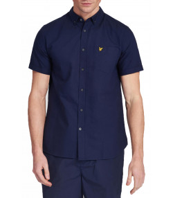 Lyle & Scott Oxford Plain Shirt Short Sleeve Navy | Jean Scene