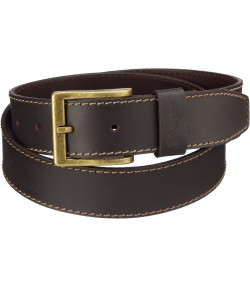 Wrangler Basic Stitched Leather Belt Brown | Jean Scene