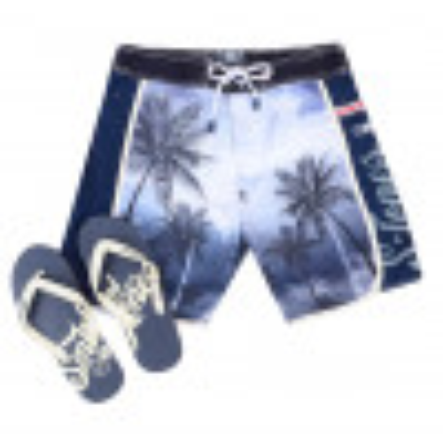 Smith & Jones Beach Swim Shorts & Flip Flop Set Kokomo Black