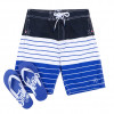 Smith & Jones Beach Swim Shorts & Flip Flop Set Stripe Navy Blue