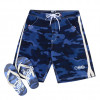 Smith & Jones Beach Swim Shorts & Flip Flop Set Camo Navy